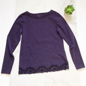 Coldwater Creek Small Purple Lace Long Sleeve Top